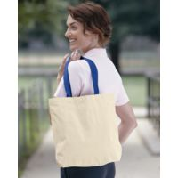 10 Ounce Gusseted Cotton Canvas Tote with Colored Handle Thumbnail